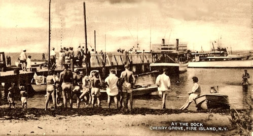 Cherry Grove Dock in early 1900s, Fire Island, NY